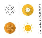 winking sun smile icon. flat... | Shutterstock . vector #741333712