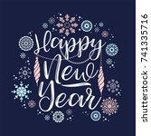 happy new year lettering... | Shutterstock .eps vector #741335716