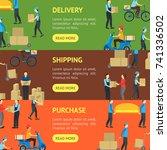 cartoon delivery workers banner ... | Shutterstock .eps vector #741336502