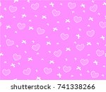 mini heart and ribbon on pink...   Shutterstock .eps vector #741338266