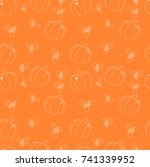 pattern of painted pumpkins and ... | Shutterstock .eps vector #741339952