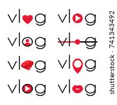 vlog video blogging logo with... | Shutterstock .eps vector #741343492