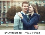 a loving couple  a guy with a... | Shutterstock . vector #741344485