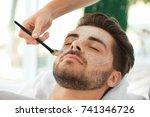beautician applying scrub onto...   Shutterstock . vector #741346726