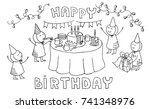 happy birthday. funny kids... | Shutterstock .eps vector #741348976