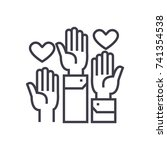 volunteer hands linear icon ... | Shutterstock .eps vector #741354538