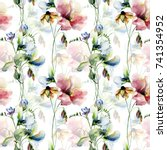 floral seamless wallpaper ... | Shutterstock . vector #741354952