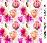 seamless pattern with tulip and ... | Shutterstock . vector #741355045