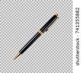 black and gold pen in a... | Shutterstock .eps vector #741355882
