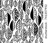 seamless pattern with leaves.... | Shutterstock .eps vector #741357952