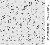 seamless pattern with music ... | Shutterstock .eps vector #741364042