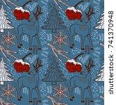 winter pattern design. deer in... | Shutterstock .eps vector #741370948