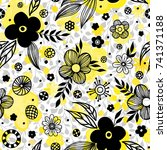 floral seamless pattern design. ... | Shutterstock .eps vector #741371188