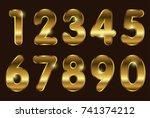 set of gold numbers.vector... | Shutterstock .eps vector #741374212