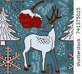 winter pattern design. deer in... | Shutterstock .eps vector #741375025