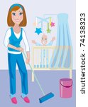 A young beautiful mother does the moist cleaning up in a nursery - stock vector