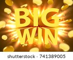big win sign with gold... | Shutterstock .eps vector #741389005