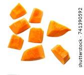pumpkin pieces cut in a  cube...   Shutterstock . vector #741390592