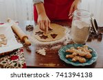 making christmas gingerbread... | Shutterstock . vector #741394138