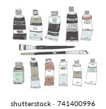 hand drawn art tools and... | Shutterstock .eps vector #741400996