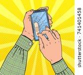pop art male hands holding... | Shutterstock .eps vector #741401458