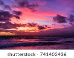 colorful sky as the sun rises... | Shutterstock . vector #741402436