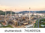 aerial view oil refinery... | Shutterstock . vector #741405526