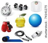 vector fitness icons   Shutterstock .eps vector #74141275