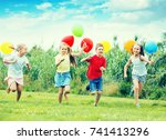 excited smiling elementary... | Shutterstock . vector #741413296