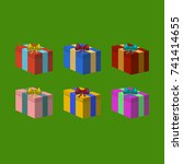 colorfull christmas presents on ... | Shutterstock . vector #741414655