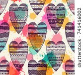 seamless pattern with hearts....   Shutterstock .eps vector #741416002