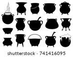 set of different halloween... | Shutterstock .eps vector #741416095