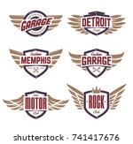 set of retro emblems with wings.... | Shutterstock .eps vector #741417676