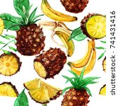 bananas and pineapples in the... | Shutterstock . vector #741431416