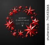 christmas frame made of cutout... | Shutterstock .eps vector #741433666