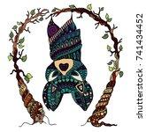 colored zentangle style bat... | Shutterstock .eps vector #741434452