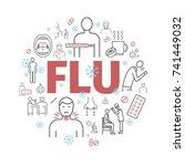 flu symptoms. influenza.... | Shutterstock .eps vector #741449032
