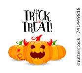cartoon devil pumpkin character ... | Shutterstock .eps vector #741449818