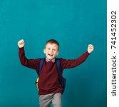 cheerful smiling little school...   Shutterstock . vector #741452302