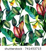 Tropical seamless pattern with vanilla orchid and banana leaves in vintage style