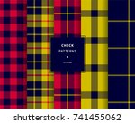 check seamless patterns set in... | Shutterstock .eps vector #741455062