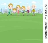 hand holding family three... | Shutterstock .eps vector #741455272