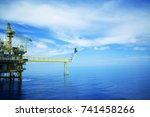 offshore platform of the in sea ... | Shutterstock . vector #741458266