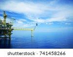 offshore platform of the in sea ... | Shutterstock . vector #741458266
