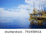 offshore platform of the in sea ... | Shutterstock . vector #741458416