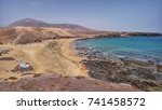 playa de pozo on lanzarote... | Shutterstock . vector #741458572