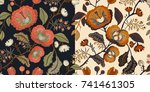 dark and light floral pattern ... | Shutterstock .eps vector #741461305