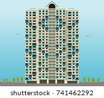 high rise apartment building...   Shutterstock .eps vector #741462292
