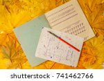 old school exercise book with a ... | Shutterstock . vector #741462766