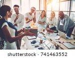 multiracial young creative... | Shutterstock . vector #741463552